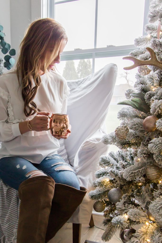 I'm Dreaming of a White Christmas Home Tour 2017 | Part IV Family Room Decor | Light and Bright Modern Farmhouse Style Christmas Home Decor| AE Home & Style