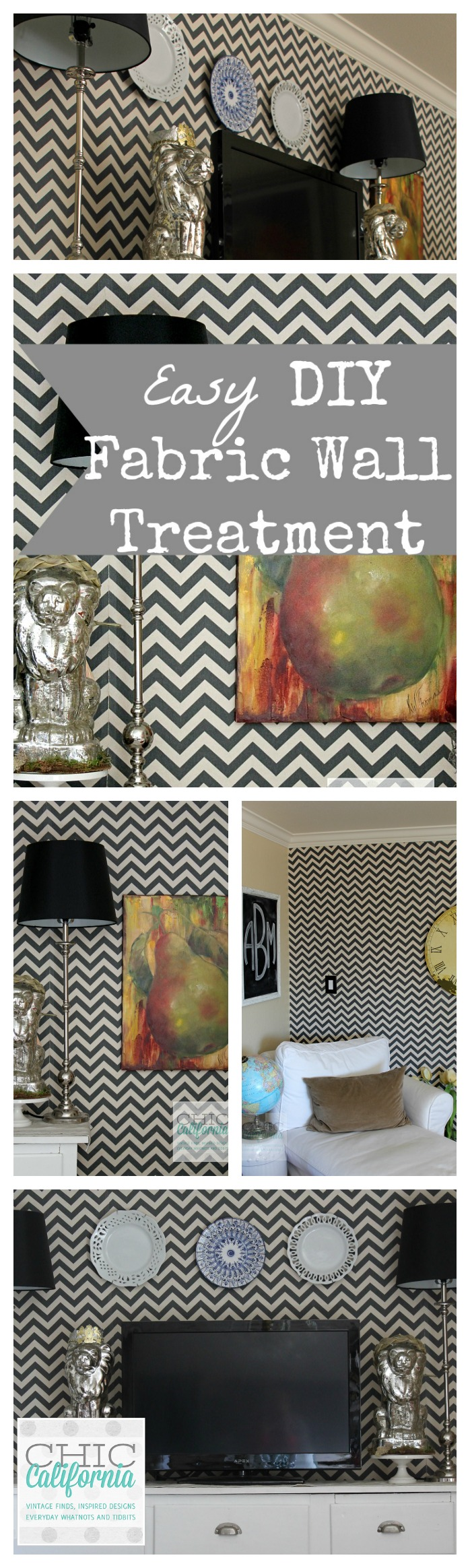 Easy DIY Fabric Wall Treament collage