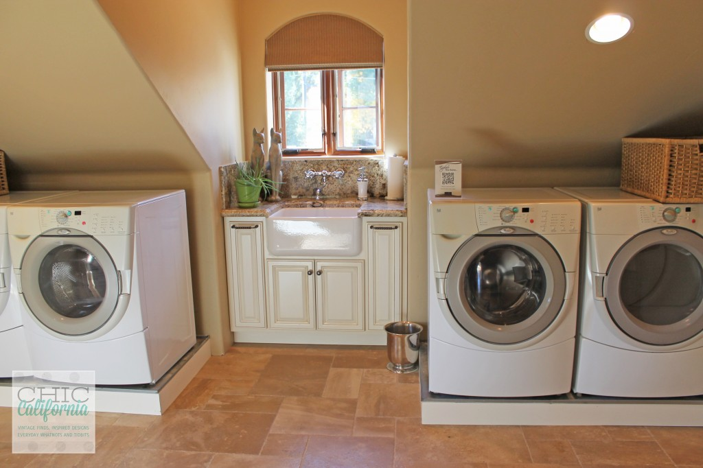 upstairs laundry, double washer, double dryer, utility sink