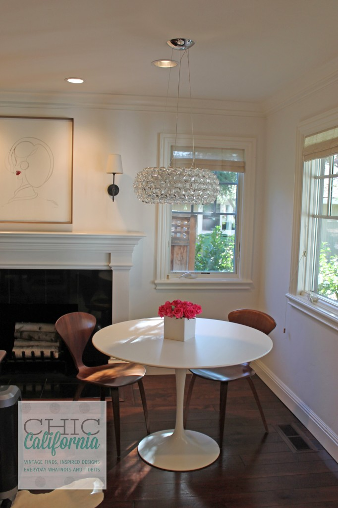 work table, crystal chandelier, white table