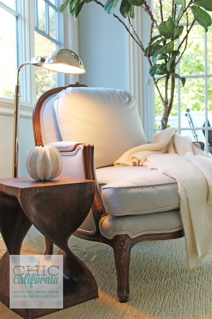 french chair, reading nook