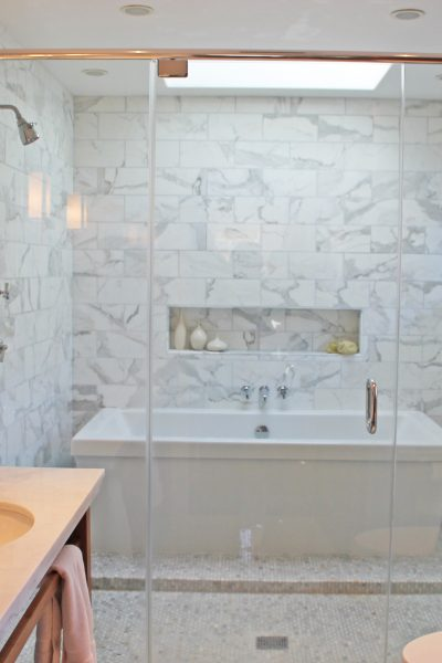 white marble tub, spa tub, double shower
