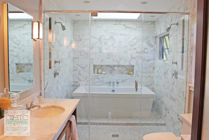 white marble tub, spa tub, double shower