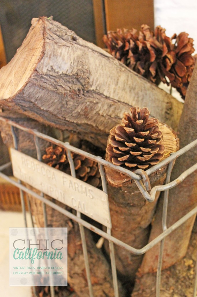 firewood and pinecones, vintage milk crate