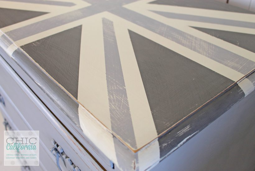 gray union jack, distressed dresser, distressed table, paris gray dresser, Annie Sloan Paris Gray