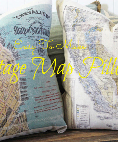 Easy to Make Vintage Map Pillows