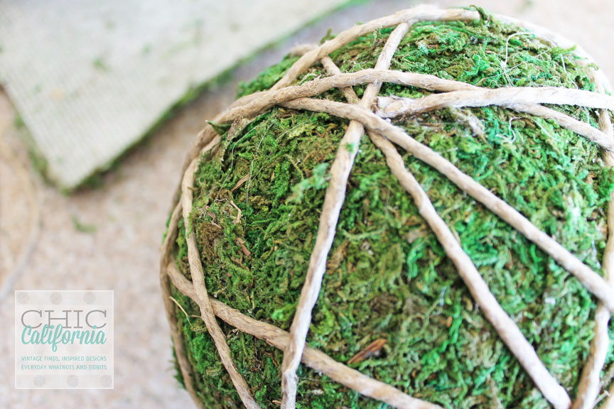 Twine Wrapped Moss Covered Garden Ball