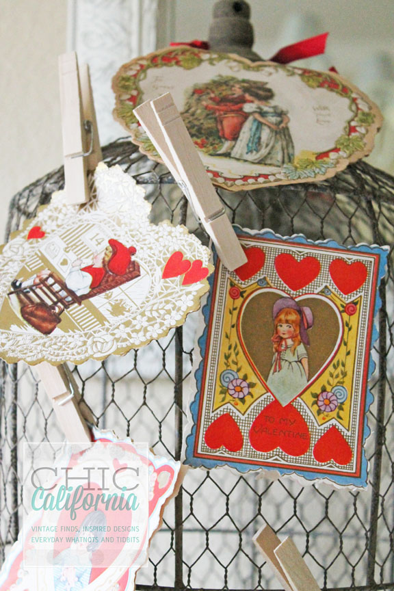 how to decorate with vintage valentines