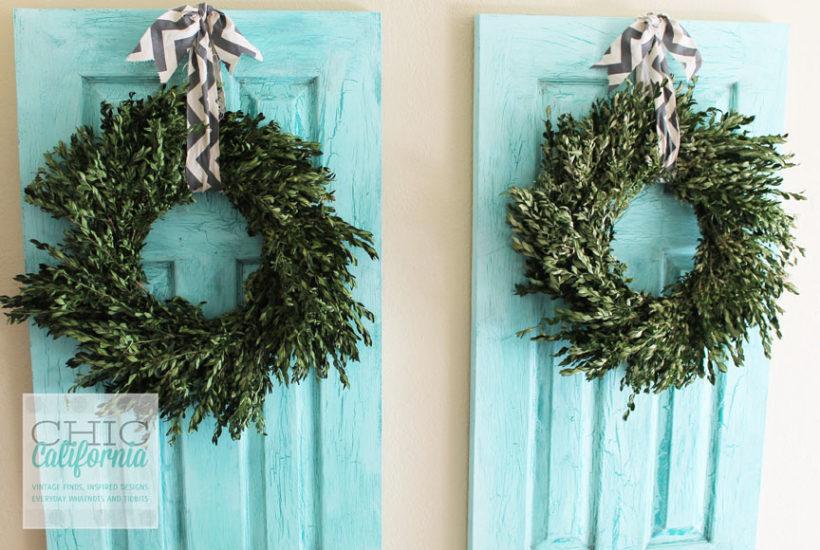 Boxwood wreaths on doors