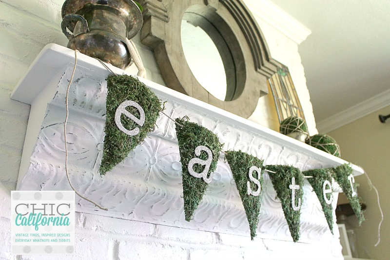 Moss and German Glass Glitter Easter Banner