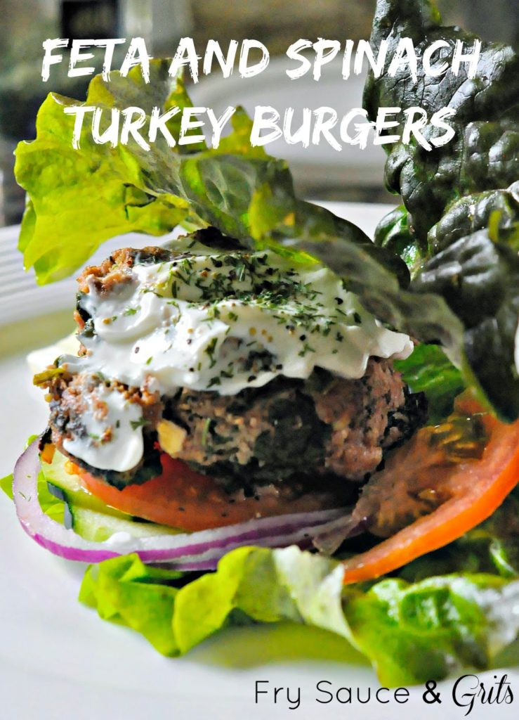 Feta Spinach Turkey Burgers from Fry Sauce and Grits