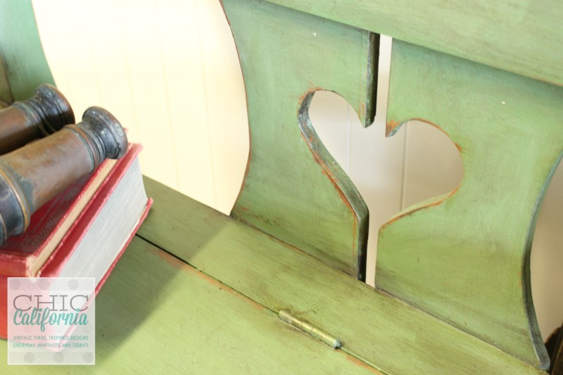 Green Milk Paint Bench by Chic California