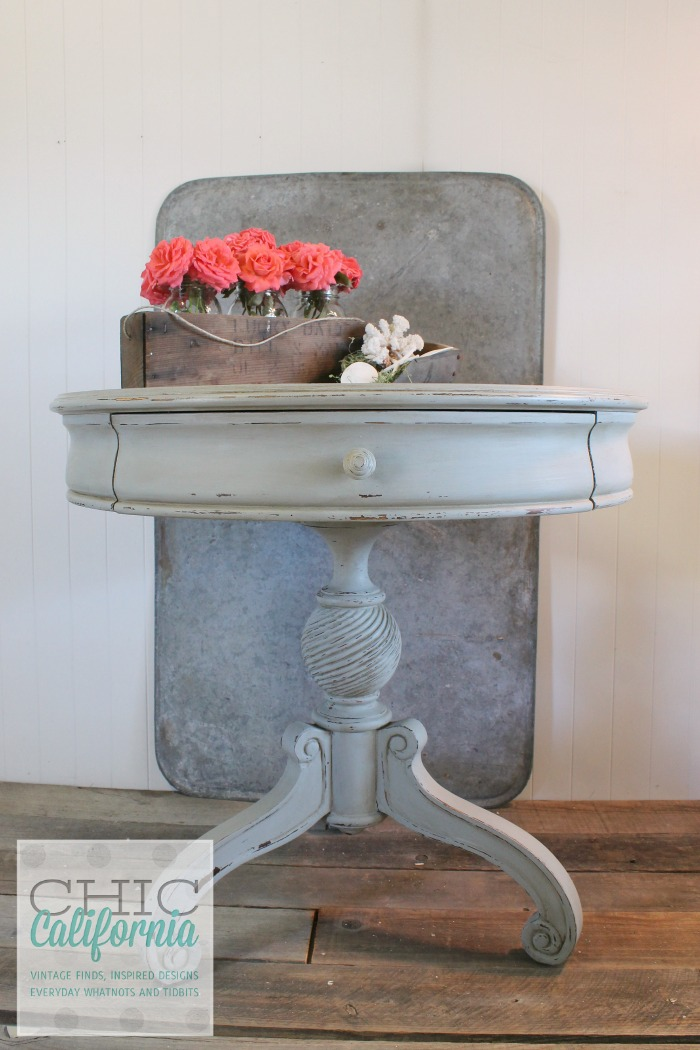 pedestal table painted in sweet pickins milk paint