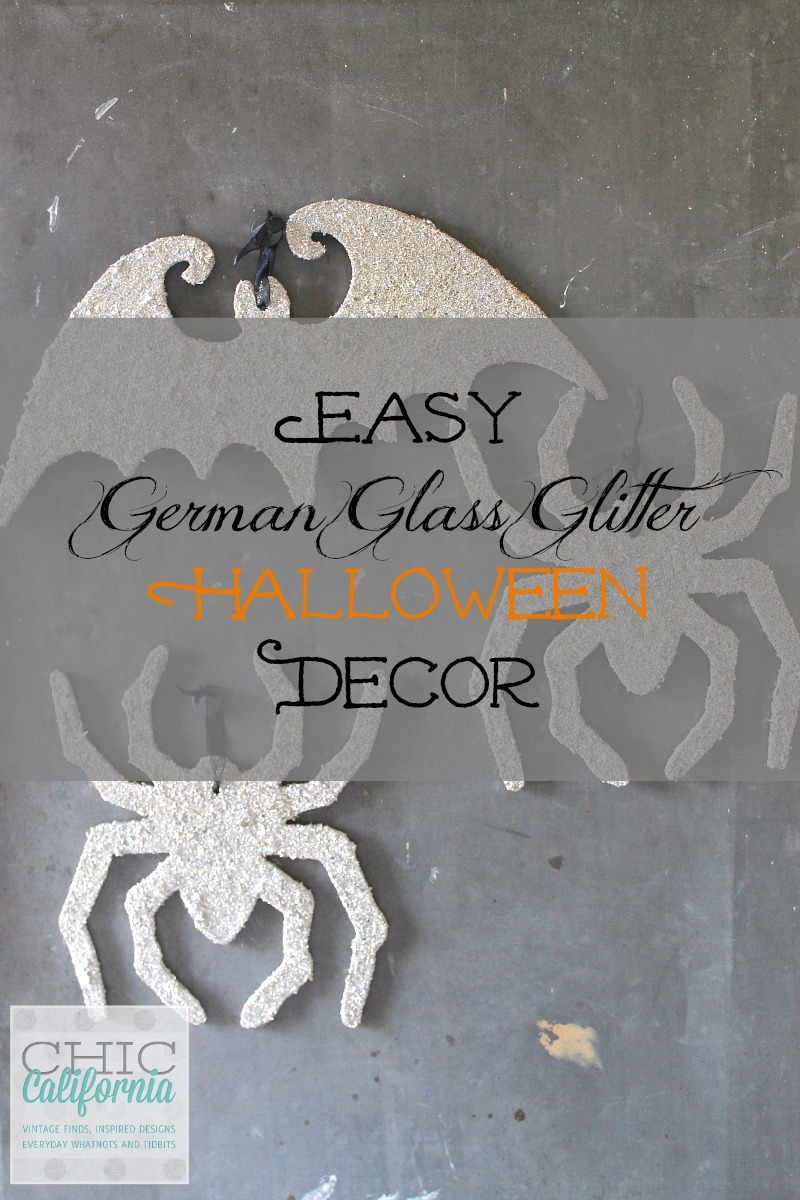 German Glass Glitter Spiders for Halloween