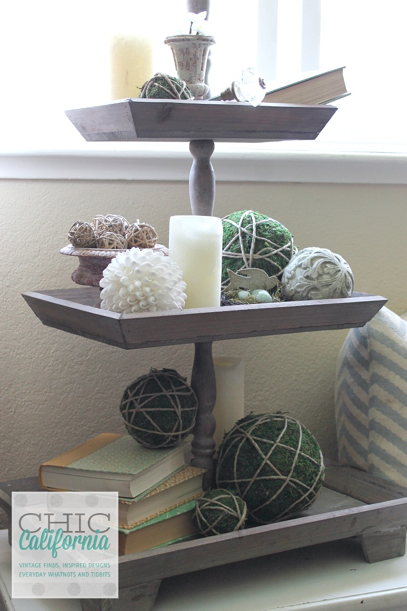 3 tier tray from Chic California Master Bedroom Tour