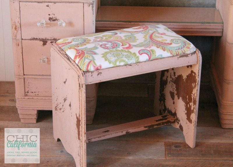 Milk Paint Vanity Bench by Chic California