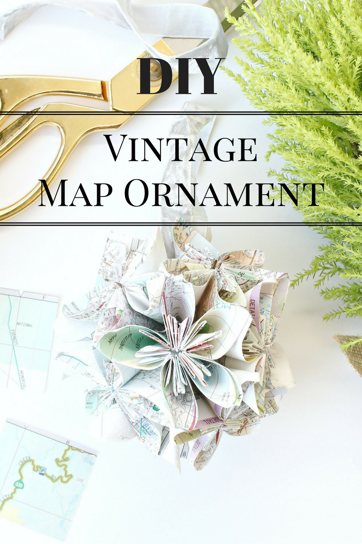 DIY VIntage Map Ornament