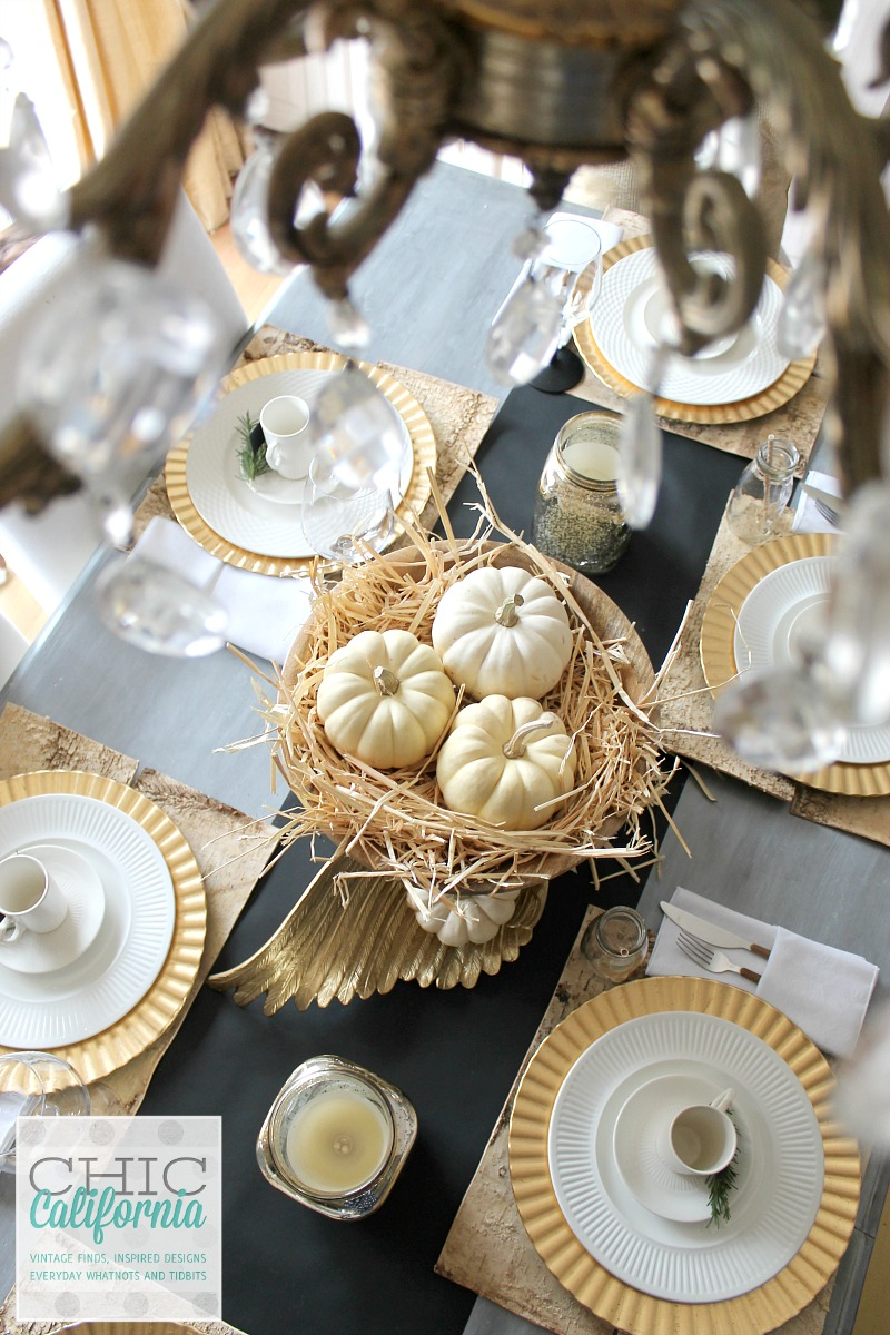 Thanksgiving Gold and Natural Table Setting