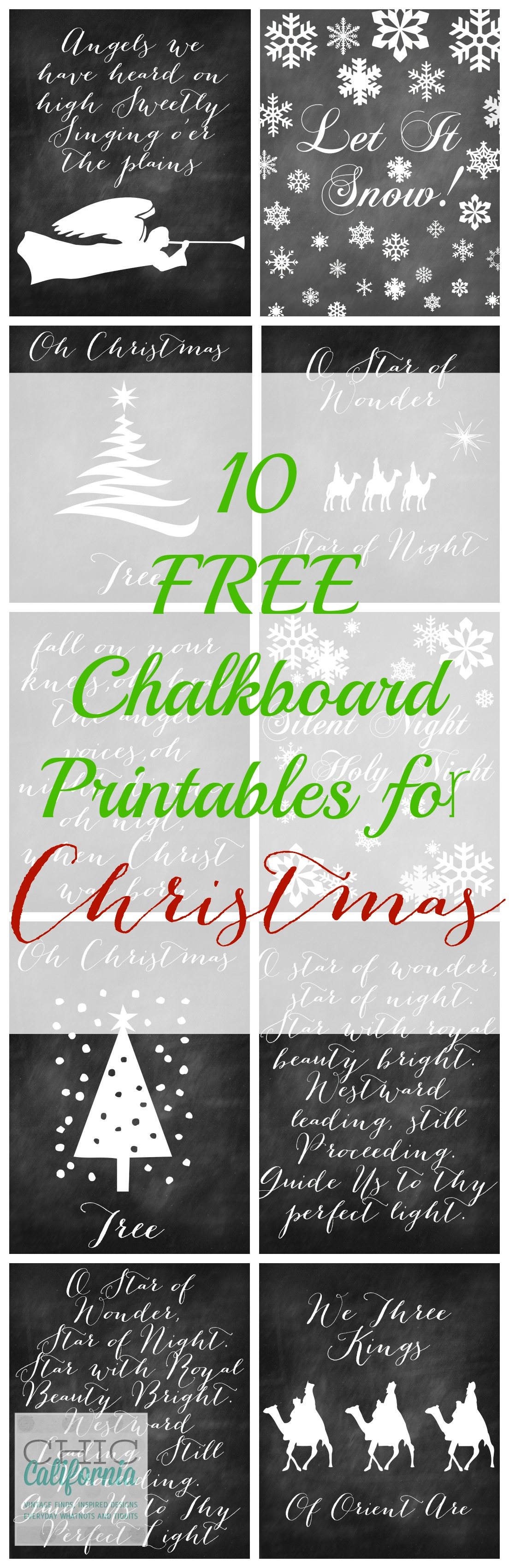 10 Free Chalkboard Printables for Chrismtas