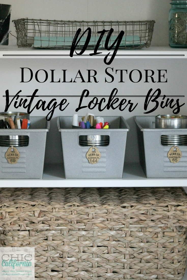 Dollar Store Craft DIY vintage locker bin