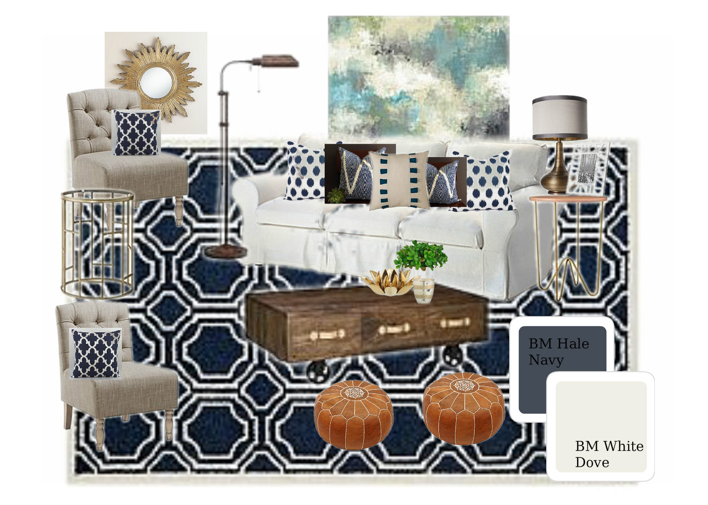 Indigo Living Room Mood Board