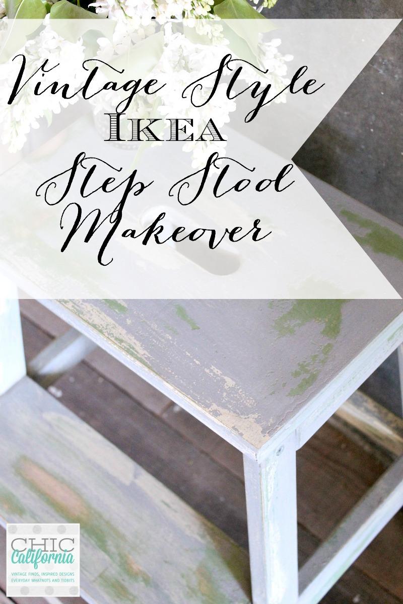 Vintage Style Ikea Step Stool Makeover