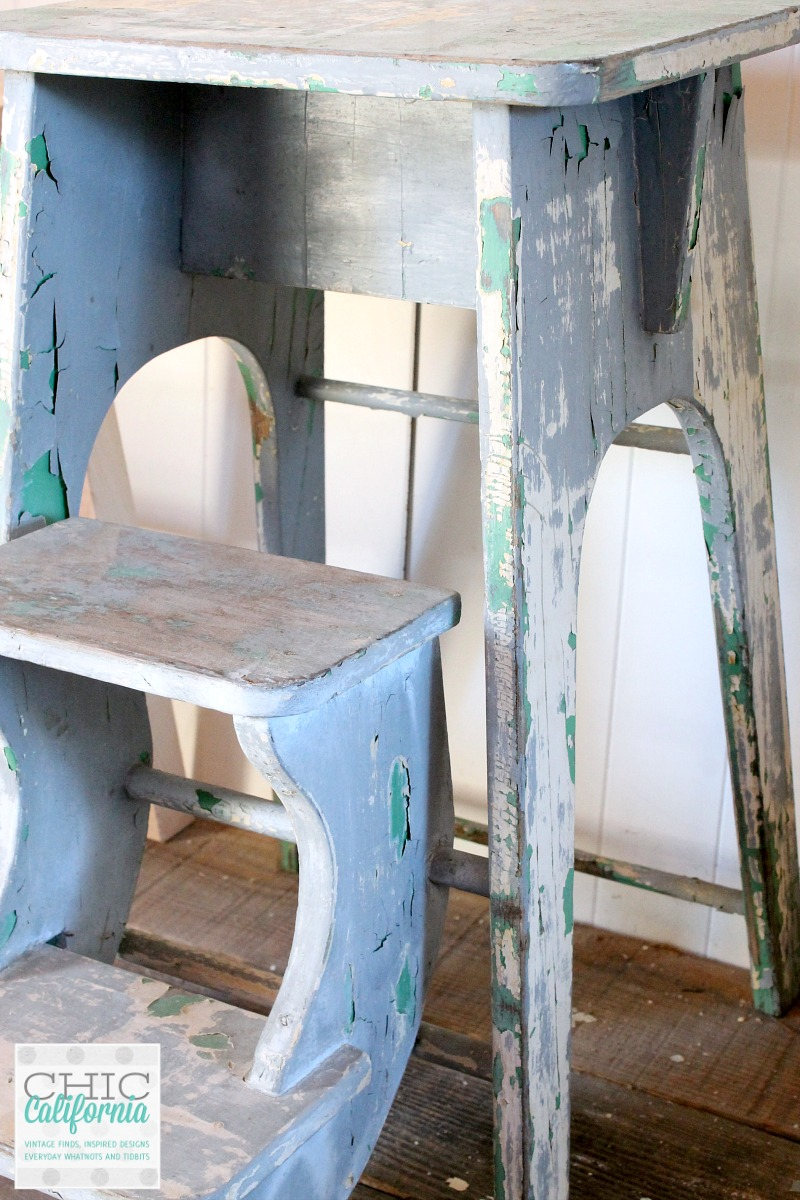 vintage step stool with layered paint
