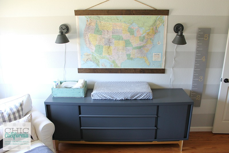 Mid Century Modern Dresser and Vintage Map in nursery