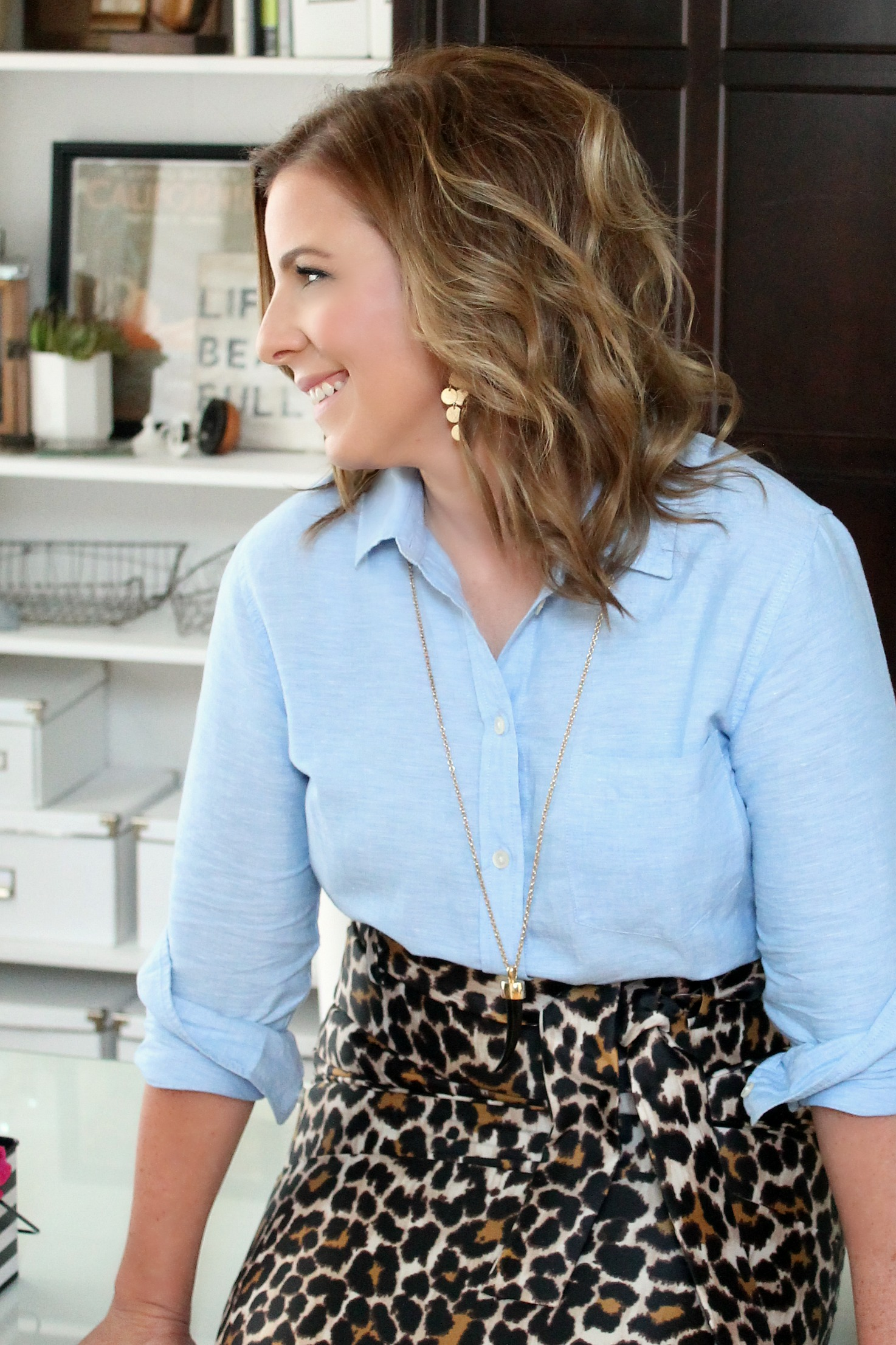 J. Crew Leopard Print Skirt and Banana Republic Shirt