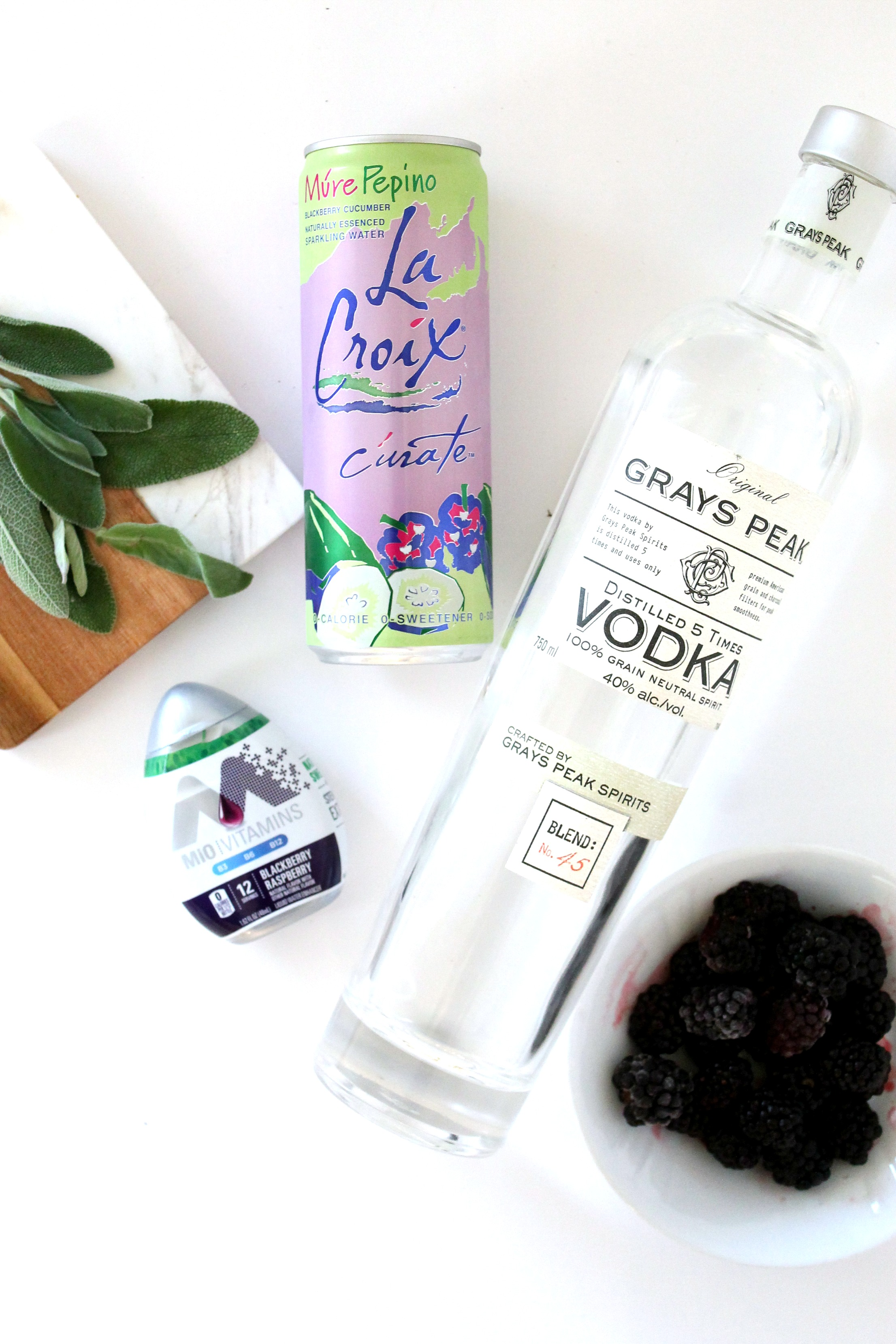 Ingredients for Blackberry Sage Sparkling Cocktail