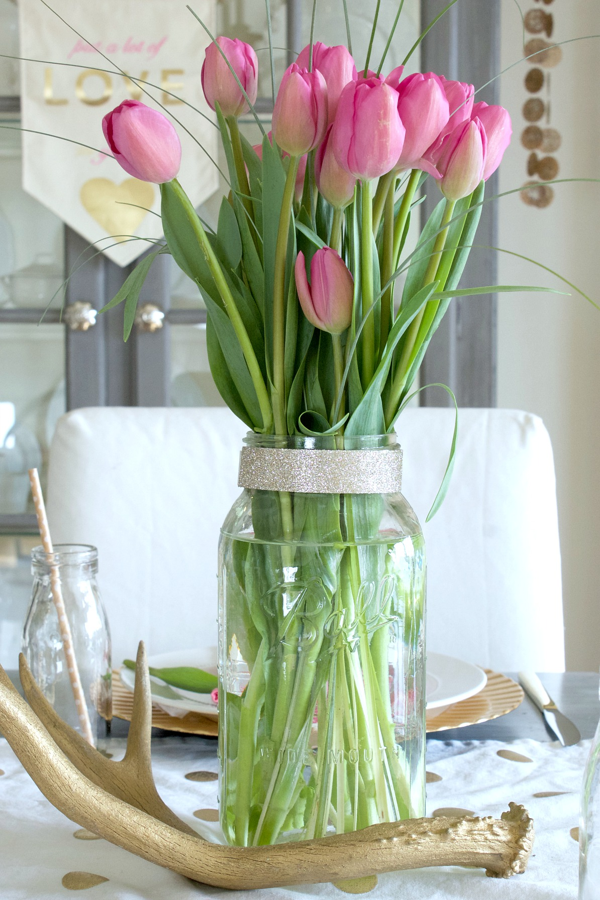 Tulips in a Mason Jar for Valentine's Day