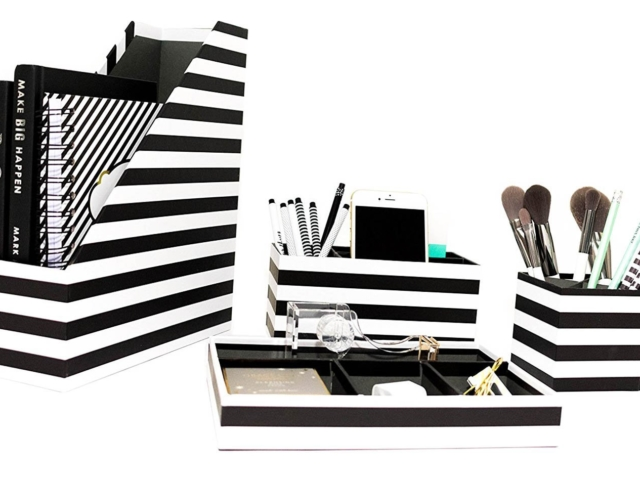 Black and White Striped Desk accessories