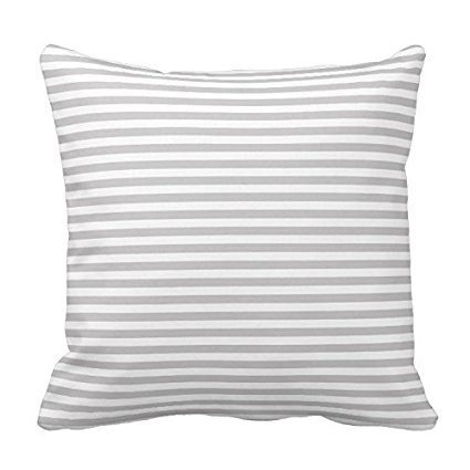 Light Gray and White Stripe Pillow Cover