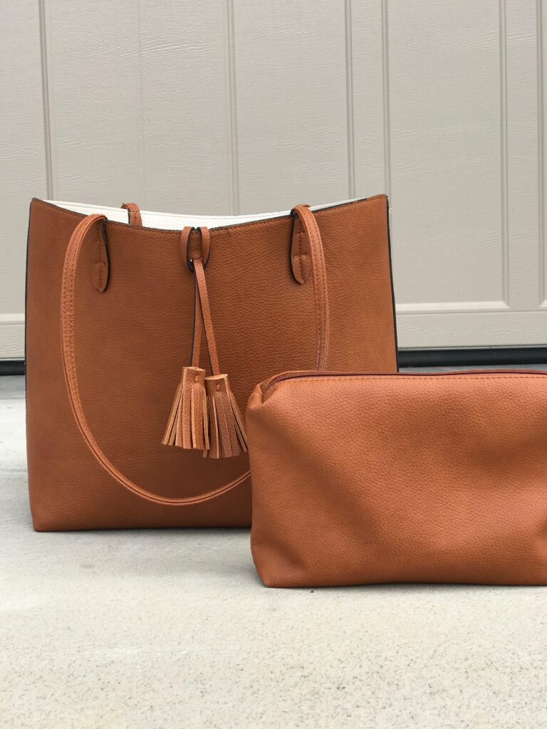 Brown faux leather tote bag from Stitch Fix