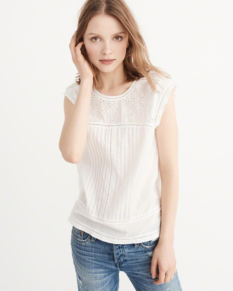 Abercrombie and Fitch Embroidered Shell
