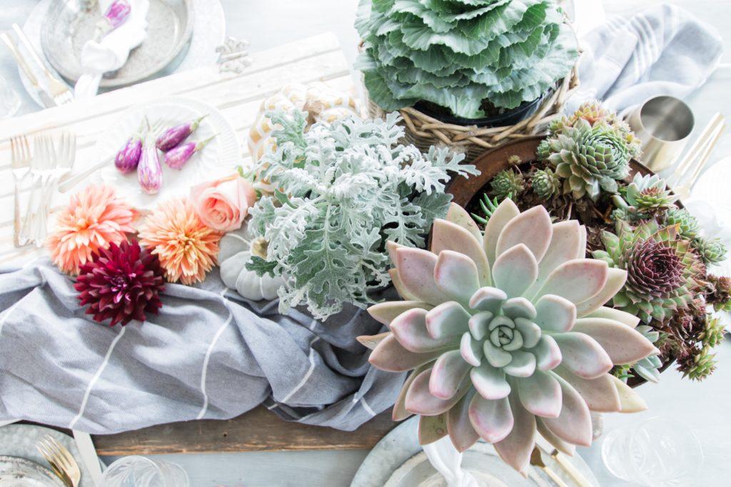 Succulent in Fall Tablescape