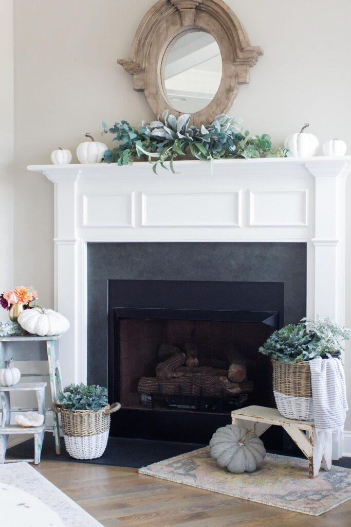 Chic California // Modern Farmhouse Fall Decor/ Fall Mantel