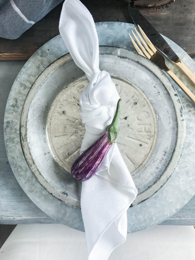Mini Eggplant for Fall Table Setting