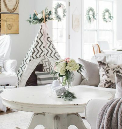 I'm Dreaming of a White Christmas Home Tour 2017 | Part IV Family Room Decor | Light and Bright Modern Farmhouse Style Christmas Table Decor| AE Home & Style