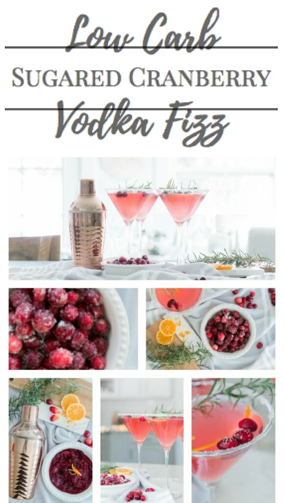 Low Carb Sugared Cranberry Vodka Fiz| The Perfect Low Carb Cocktail | AE Home & Style (Chic California)