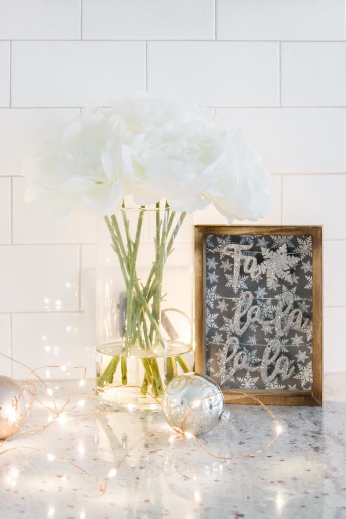 White and Sparkly Christmas Decor for the Kitchen