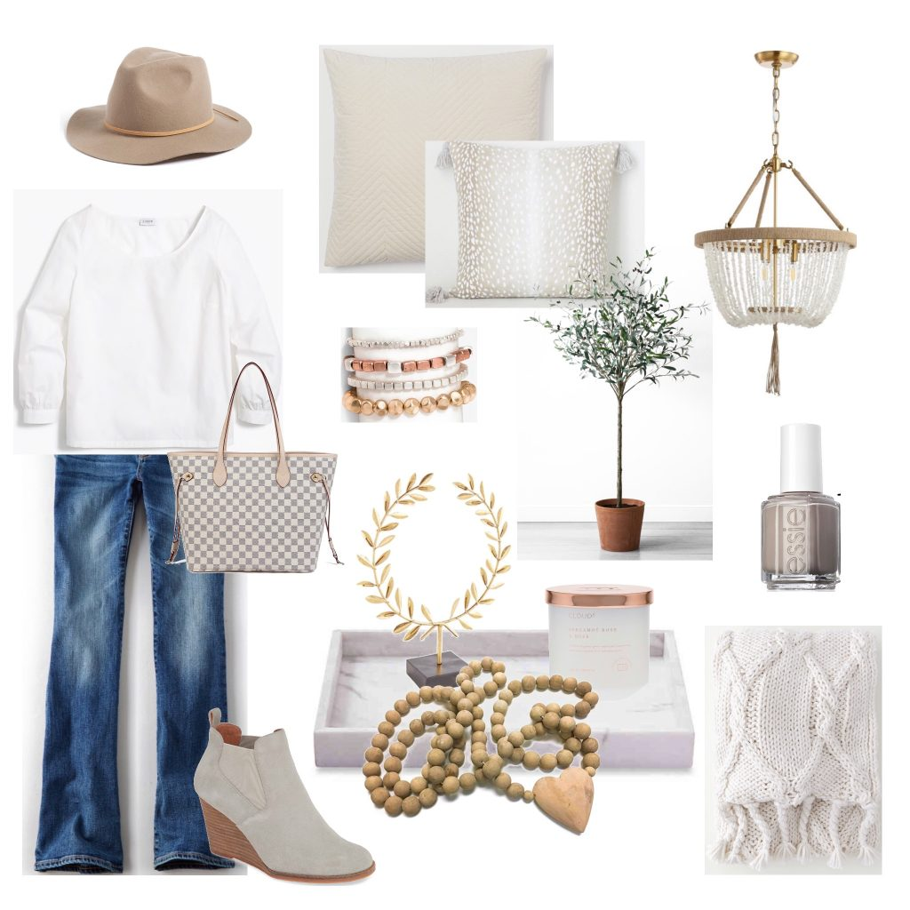 Love all these casual neutrals for fall decor and wardrobe.  aehomestylelife.com #fall #falldecor #fallwardrobe #whitedecor #neutraldecor