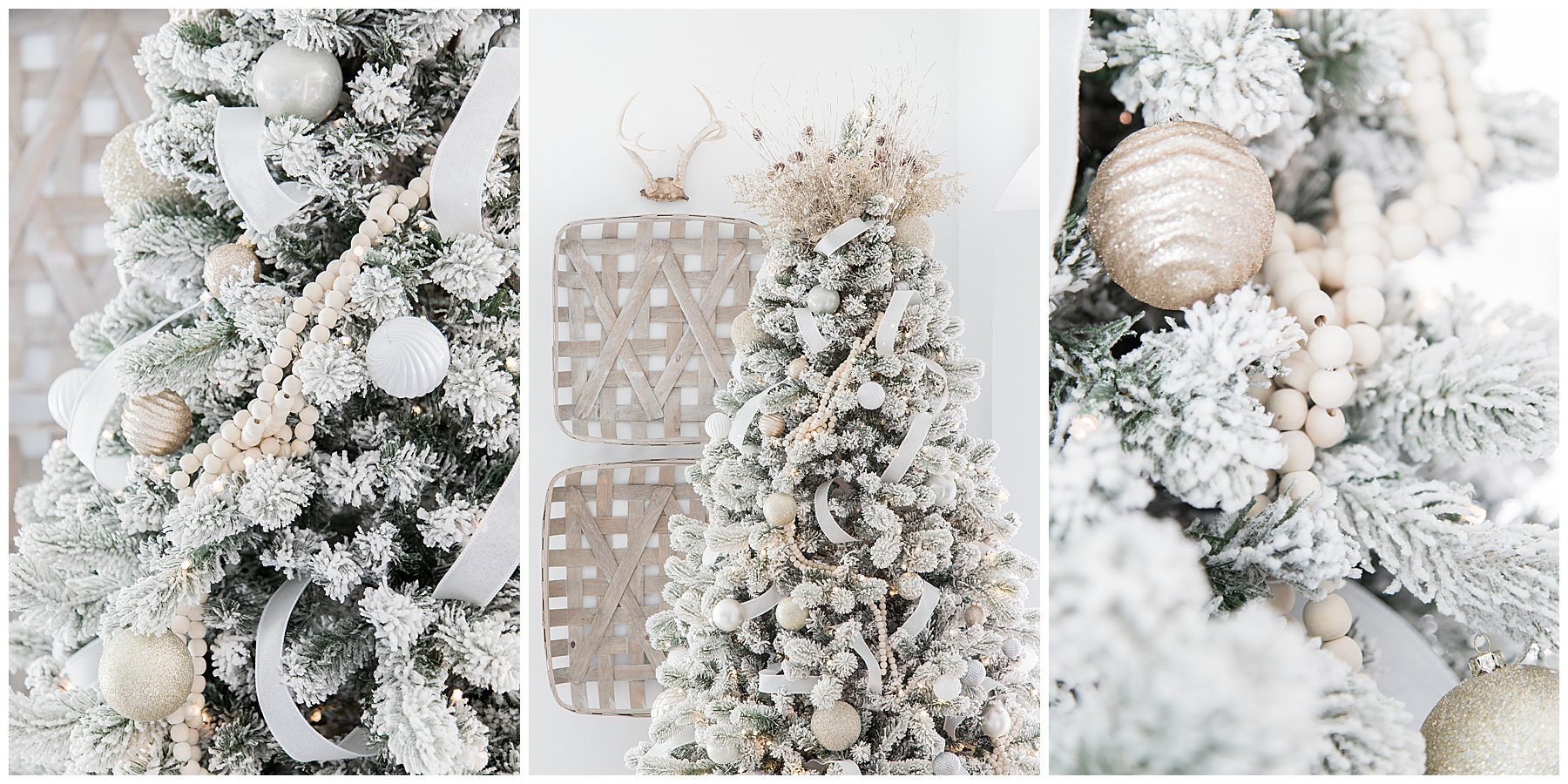 Love this flocked Christmas Tree decorated with natural wood bead garland, white christmas ornaments and mercury glass ornaments? | AE HOME STYLE LIFE| #christmastre #christmastreedecor #christmashometour #flockedtree #howtodecorateaflockedtree #christmasdecor #whitechristmasdecor