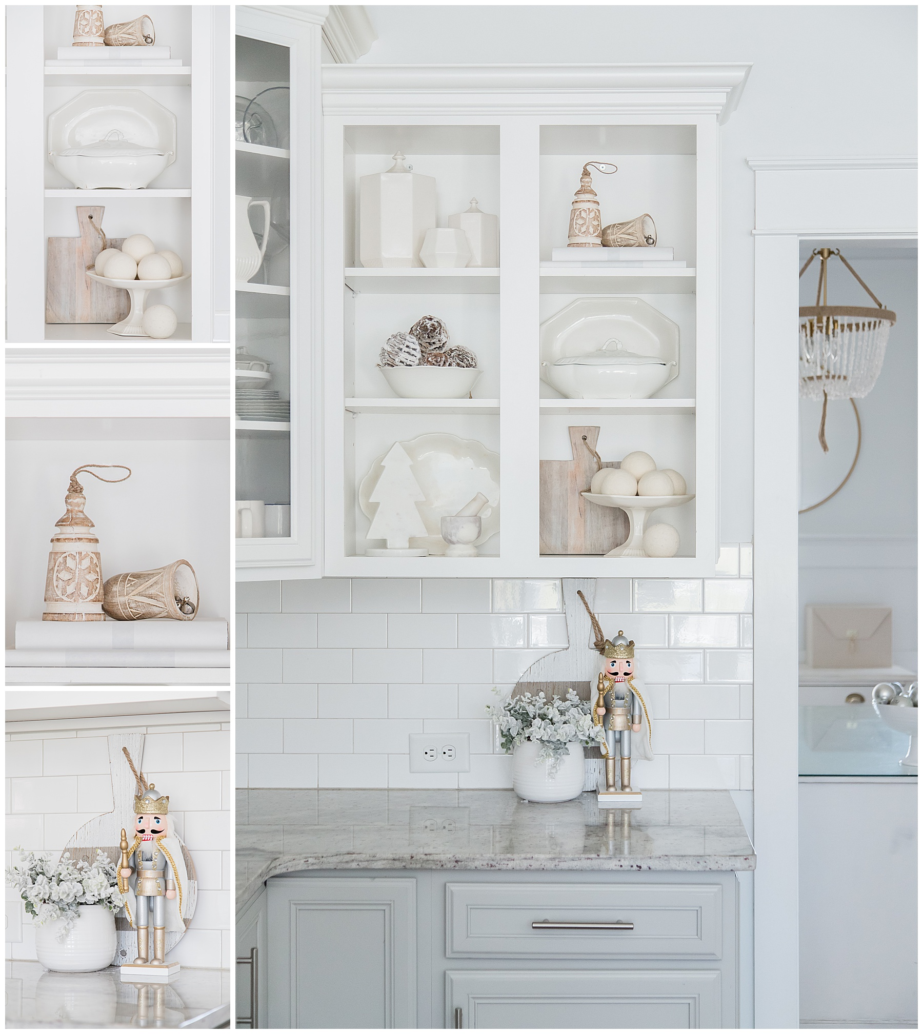 Love this beautiful open shelving in this white and gray kitchen. | AE Home Style Life | #openshelving #whitekitchen #graykitchen #kitchendecor #christmasdecor #whitechristmasdecor #nutcracker #whitecabinets #graycabinets