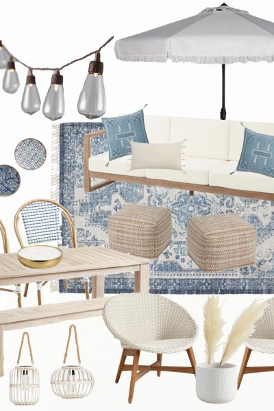Gorgeous neutral and blue outdoor living space mood board. Love this coastal and neutral outdoor space. |AE Home Style Life| #coastaldecor #outdoorliving #neutraldecor #neutraloutdoorliving #outdoorneutrals #backporchdecor #porchdecor #summerdecor #springdecor